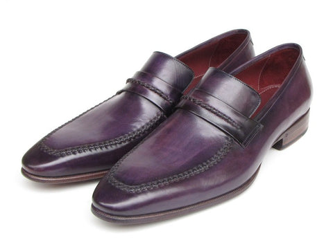 Paul Parkman Men's Purple Loafers Handmade Slip-On Shoes - The Big Boy Store