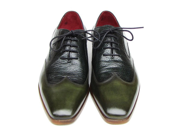 Paul Parkman Men's Wingtip Oxford Floater Leather Green - The Big Boy Store