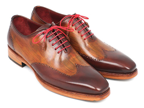 Paul Parkman Men's Wingtip Oxford Goodyear Welted Brown & Camel - The Big Boy Store