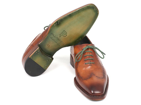 Paul Parkman Men's Wingtip Oxford Goodyear Welted Camel Brown - The Big Boy Store