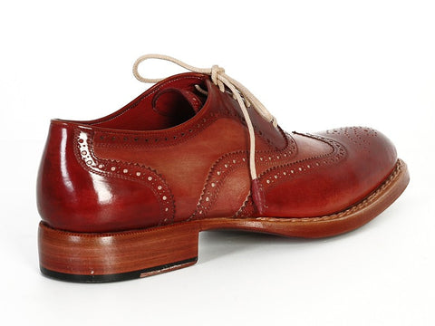 Paul Parkman Men's Wingtip Oxfords Bordeaux & Camel - The Big Boy Store
