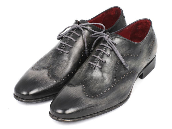 Paul Parkman Wintip Oxfords Gray & Black Handpainted Calfskin - The Big Boy Store