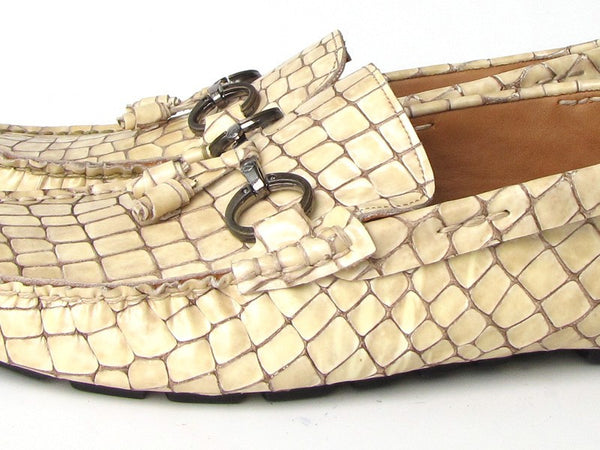 Paul Parkman Men's Driving Moccasin Beige Croco Embossed Calfskin Upper with Rubber Nubbed Sole - The Big Boy Store