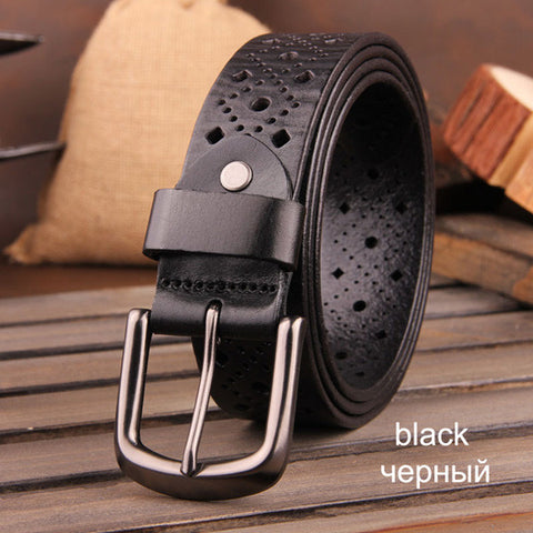 [DWTS]2016 brand luxury genuine leather belt for men,casual hollow designer belts men - The Big Boy Store