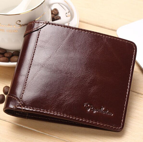 BISON DENIM High Quality Red Brown leather genuine wallet men purse card holder Brand men wallets dollar price Christmas Gifts - The Big Boy Store