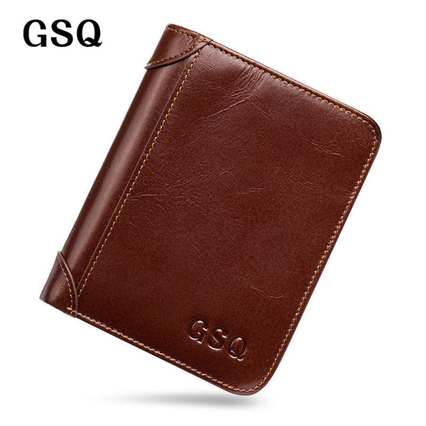GSQ Genuine Leather Men Wallet High Quality Cow Leather Luxury Brand Designer Short Wallet - The Big Boy Store