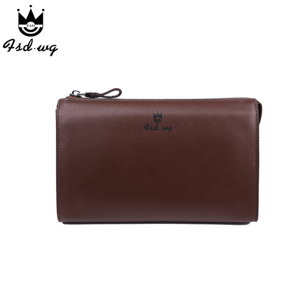 New men wallets long zipper designer mens wallets leather genuine famous brand Brown