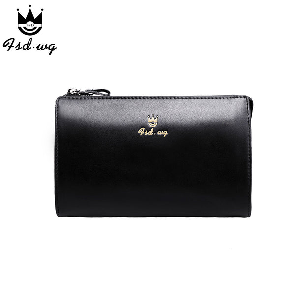New men wallets long zipper designer mens wallets leather genuine famous brand Black