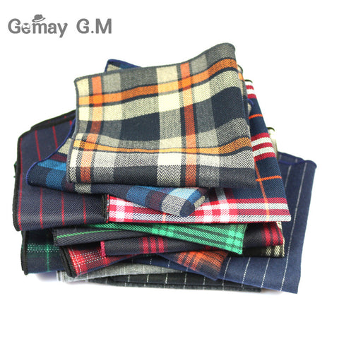 High Quality Cotton Mens Pocket Square Adult Plaid Hankerchief Scarves Vintage Hankies