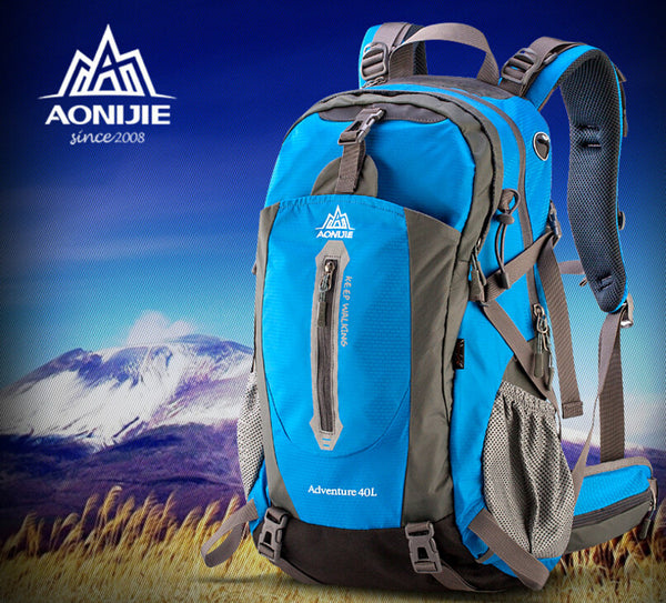 AONIJIE Outdoor Sport Travel Backpack Mountain Climbing Backpack 40L 50L Packsack Light Blue Color