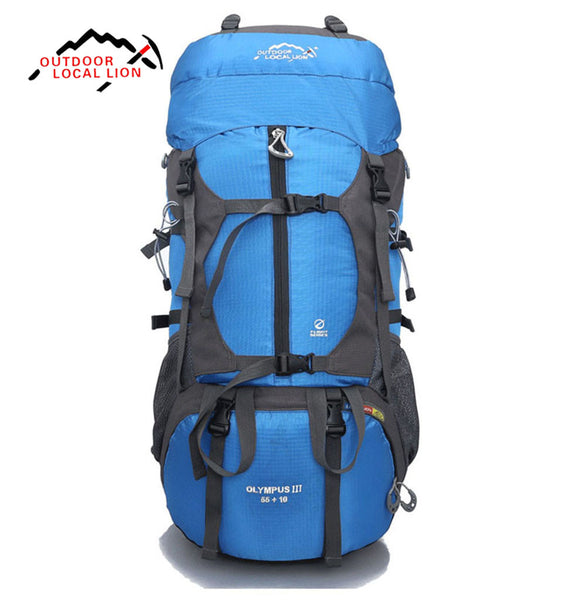 LOCAL LION 65L Professional Hiking Backpack Field Pack Men and Women Shoulder Blue Color