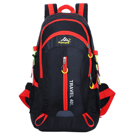 High Quality Nylon Waterproof Hiking Backpack Outdoor Sports Bag Black Color