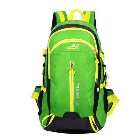 High Quality Nylon Waterproof Hiking Backpack Outdoor Sports Bag Green Color