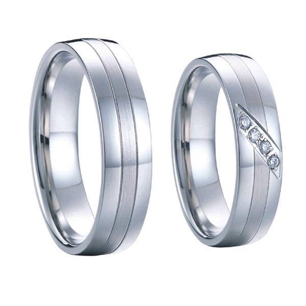 High end handmade custom silver white gold color wedding rings sets pure titanium - The Big Boy Store