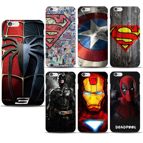 Superhero Collection Deadpool Spiderman Phone Case for capinhas iphone 7 Plus 5 5S 6 6S Ironman Batman Marvel - The Big Boy Store