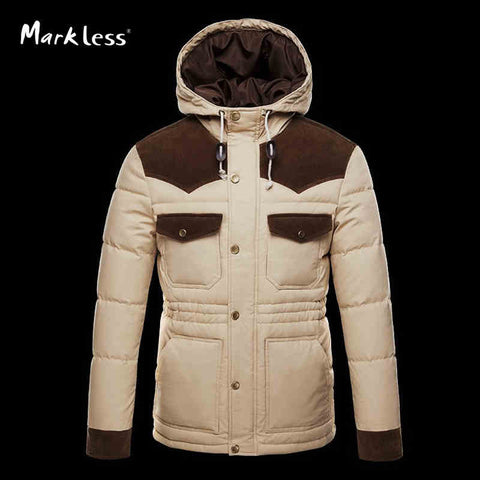 Markless Winter New Thick Men Jackets Down Brand Men's Casual Hooded Down Coats