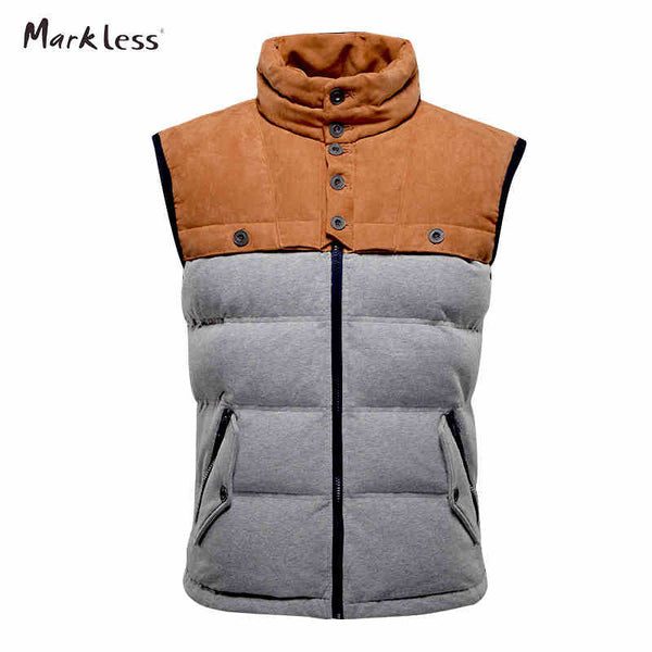 Markeless 2016 Men Fashion Patchwork Down Vest Autumn And Winter