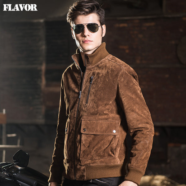 2016 Men's real leather jacket pigskin Genuine Leather jacket men warm leather coat