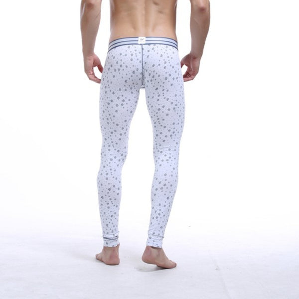 Men Cotton Printing Thermal Underwear Bottom Warm Long Johns Leggings Pants - The Big Boy Store