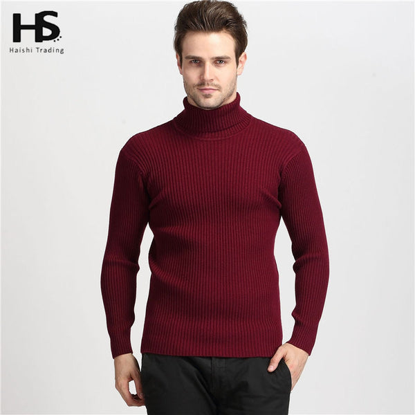 2016 Winter Thick Warm 100% Cashmere Sweater Men Turtleneck Men Brand Mens Sweaters Slim Fit Pullover Men Knitwear Double collar - The Big Boy Store