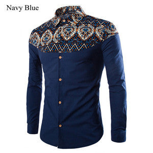HEE GRAND Men's Shirts 2016 Hot Sale Fashion Printing Pattern Linen Casual Turn-Down Collar Slim Camisa Masculina MCL1094 - The Big Boy Store