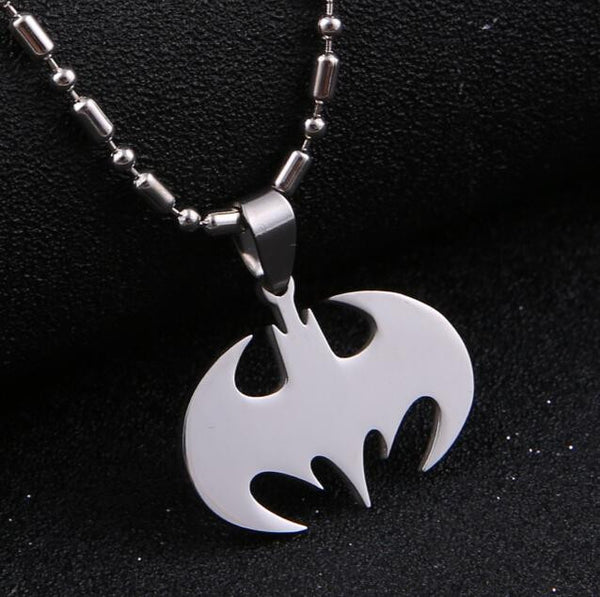 Fashion Silver chain Men Necklaces Jewelry Slippy Bat Batman Sign Pendant Stainless Steel Pendant with Chain Necklace - The Big Boy Store
