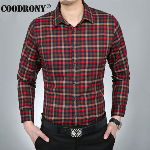 2016 Spring New 100% Pure Cotton Shirt Men Casual Dress Long Sleeve Plaid Shirts Brand Clothing Chemise Social Homme Marque 1104 - The Big Boy Store