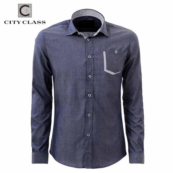CITY CLASS 2016 men dress eu size shirt full sleeve business shirts formal office brand clothing camisa masculina 2979 - The Big Boy Store