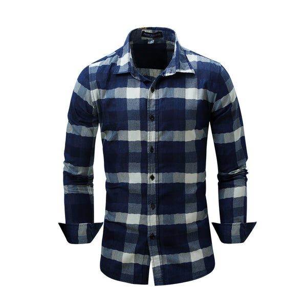 2016 New Arrivals Men's Denim Shirt Fashion Discharge Plaid Print Chemise Homme Long Sleeve European Size Casual Shirt for Man - The Big Boy Store