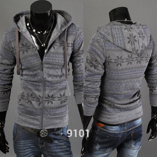 Mens Fashion Jacket Long Sleeve Slim  Floral Print Sweater Zip Up Cardigan - The Big Boy Store