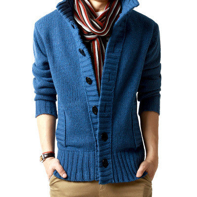 Free shopping new 2014 autumn outdoors polo collar slim fit mens sweaterss big button design cashmere warm casual cardigan /KS5 - The Big Boy Store