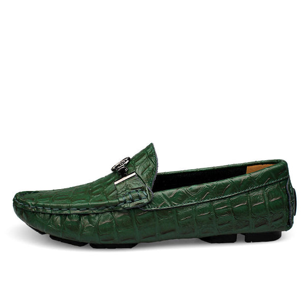 Clax Mens Moccasin with Crocodile Skin Printing Casual Leather Loafers Male Alligator Shoe Slip On Fashion - The Big Boy Store