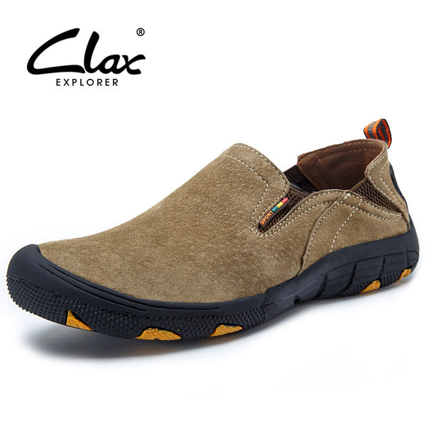 Clax Men's Walk Shoes Spring Summer Casual Shoe Slip On Breathable Suede Leather