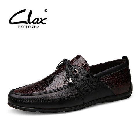 Clax Men Dress Shoe Crocodile Skin Printing Spring Autumn Male Business Formal Shoes Genuine Leather Designer Flat Wedding Shoe - The Big Boy Store