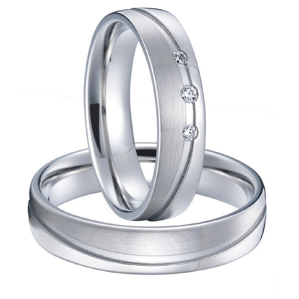 Classic mens and womens silver white gold color couples weddings rings titanium steel jewelry - The Big Boy Store
