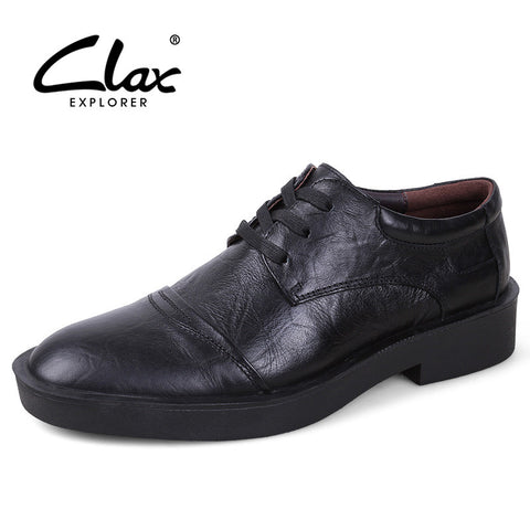 Clax Men Formal Shoes Black 2017 Spring Autumn Men's Dress Leather Shoe Genuine Leather Bussiness Oxford Office Shoe Comfortable