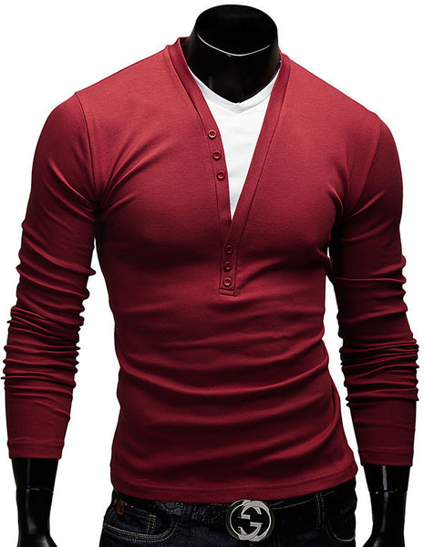 New Fashion Button Design Casual Slim Fit V-neck Tees  Men's Clothing - The Big Boy Store