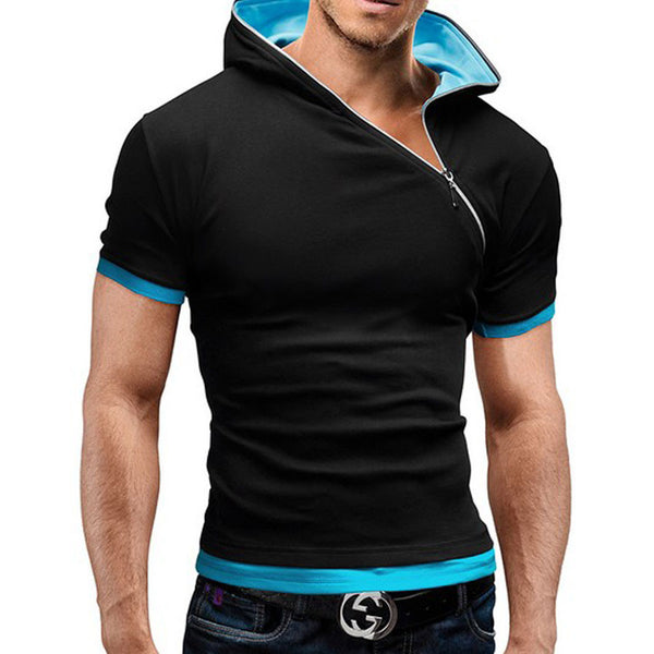 New summer t shirt men inclined zipper design hooded man t-shirt - The Big Boy Store