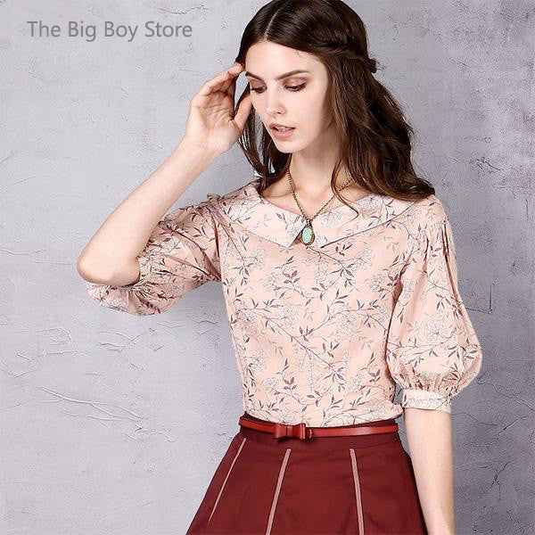 Women's New Solid Color Printed Cotton Shirt Elegant Turn-down Collar