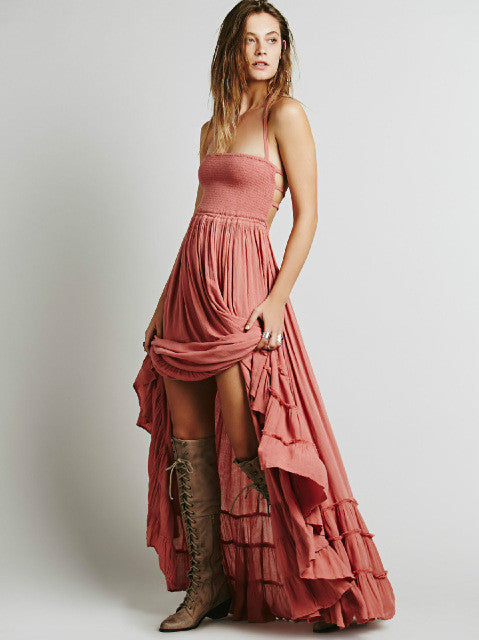2017 Bohemian Style Ankle- Length Dress With Spaghetti Straps