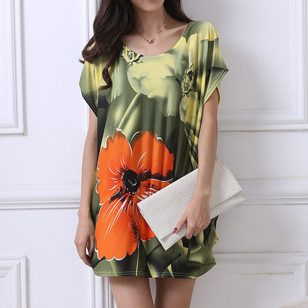 Women's T Shirt Dress Plus Size Mini Dress Casual Tunic Dress