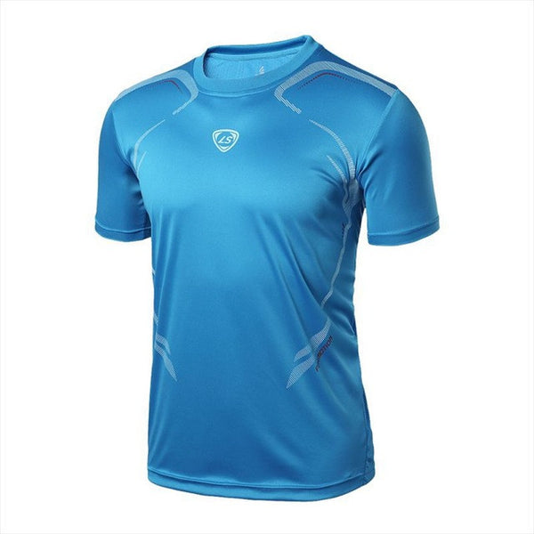 New Summer T Shirt Men Casual Quick Dry Fit Shirts Stretch Tee Male Crossfit Tops