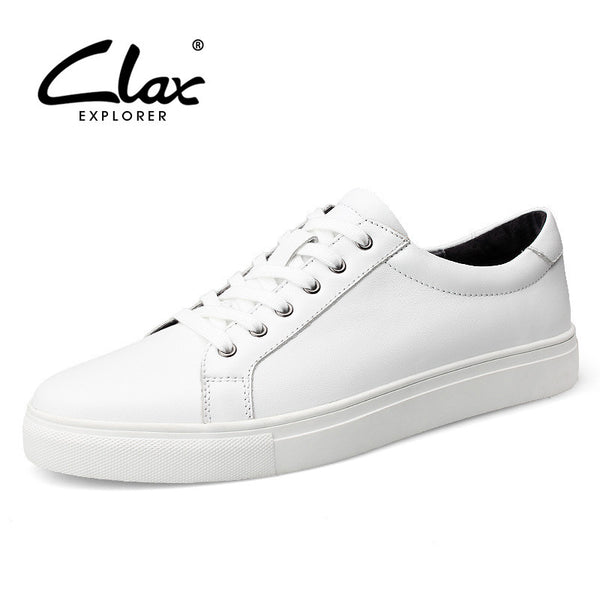 Clax White Shoe Men Casual 2017 Spring Autumn Men's Designer Flat Shoes Genuine Leather