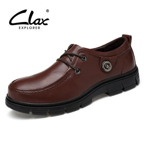 Clax Men Formal Leather Shoes Genuine Leather 2017 Black Brown Men's Dress Shoes Office Business Shoe Vintage Retro Comfortable