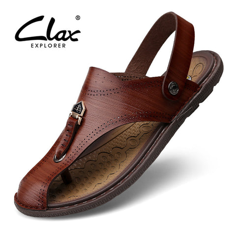 Clax Men Leather Sandals 2017 Men's Summer Shoe Breathable VintageRetro Casual Sandals Handmade
