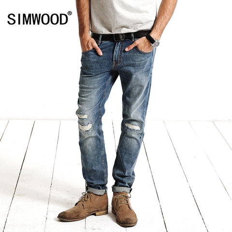 SIMWOOD 2017  Spring New Arrival Jeans Men Patchwork  hole  Denim skinny Biker Trouser Slim Fit