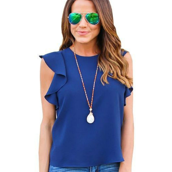 Summer Chiffon Shirts Casual Tops Butterfly Sleeve Women T Shirts O-neck Tees