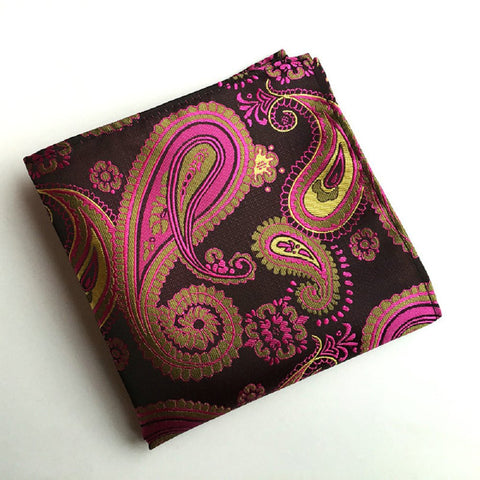 Vintage Men's Paisley Handkerchief Floral Printed Pocket Square pink