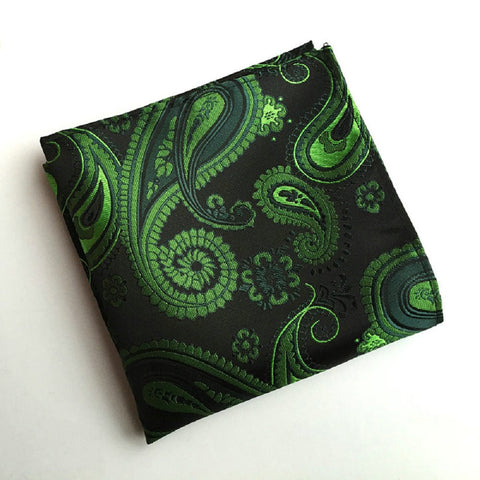 Vintage Men's Paisley Handkerchief Floral Printed Pocket Square green