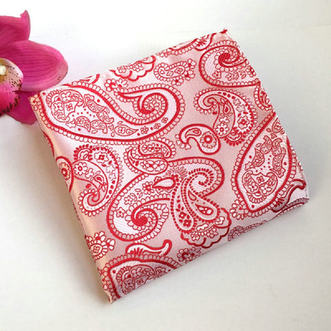 Vintage Men's Paisley Handkerchief Floral Printed Pocket Square red white